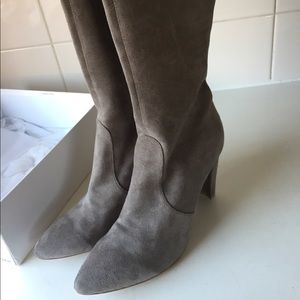 Wanted grey suede thigh high boots like new!